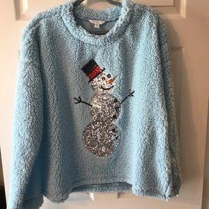 NWOT Sequined Snowman ⛄️ Cozy top XL